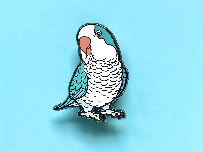Amazon Com Blue Quaker Parrot Feathered Friends Hard Enamel Pin Lapel Pin Bird Pin Monk Parakeet Parrot Pin Feathered Friends Handmade