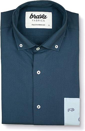 Brava Fabrics | Camisa Hombre Manga Larga Estampada | Camisa Azul para Hombre | Camisa Casual Regular Fit | 100% Algodón | Modelo Savannah Essential | Talla 3XL: Amazon.es: Ropa y accesorios