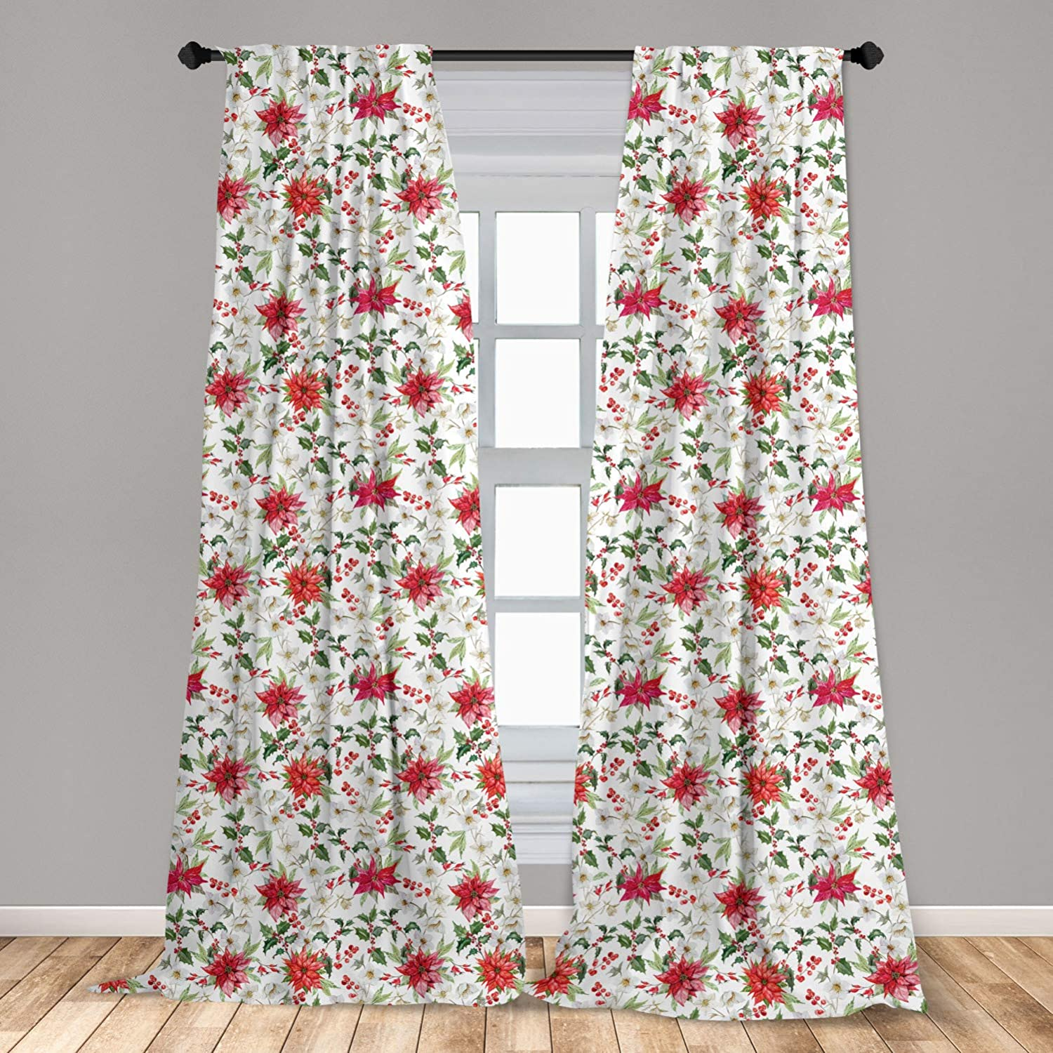 """Ambesonne Watercolor Curtains, Fresh Poinsettia Flowers and Rowan Berry Branches Christmas Garden, Window Treatments 2 Panel Set for Living Room Bedroom Decor, 56"""" x 95"""", Vermilion Magenta"""
