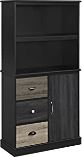 Ameriwood Home Mercer Storage Bookcase With Multicolored Door And Drawer  Fronts, Black