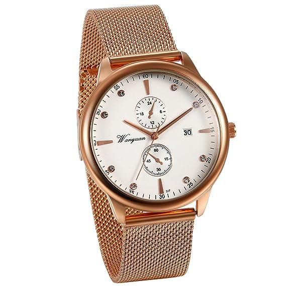 JewelryWe Reloj Oro Rosa para Hombre, Esfera Grande Con Calendario, Correa Milanesa de Acero Inoxidable Reloj de Caballero, 2 Subesferas Decorativas: ...