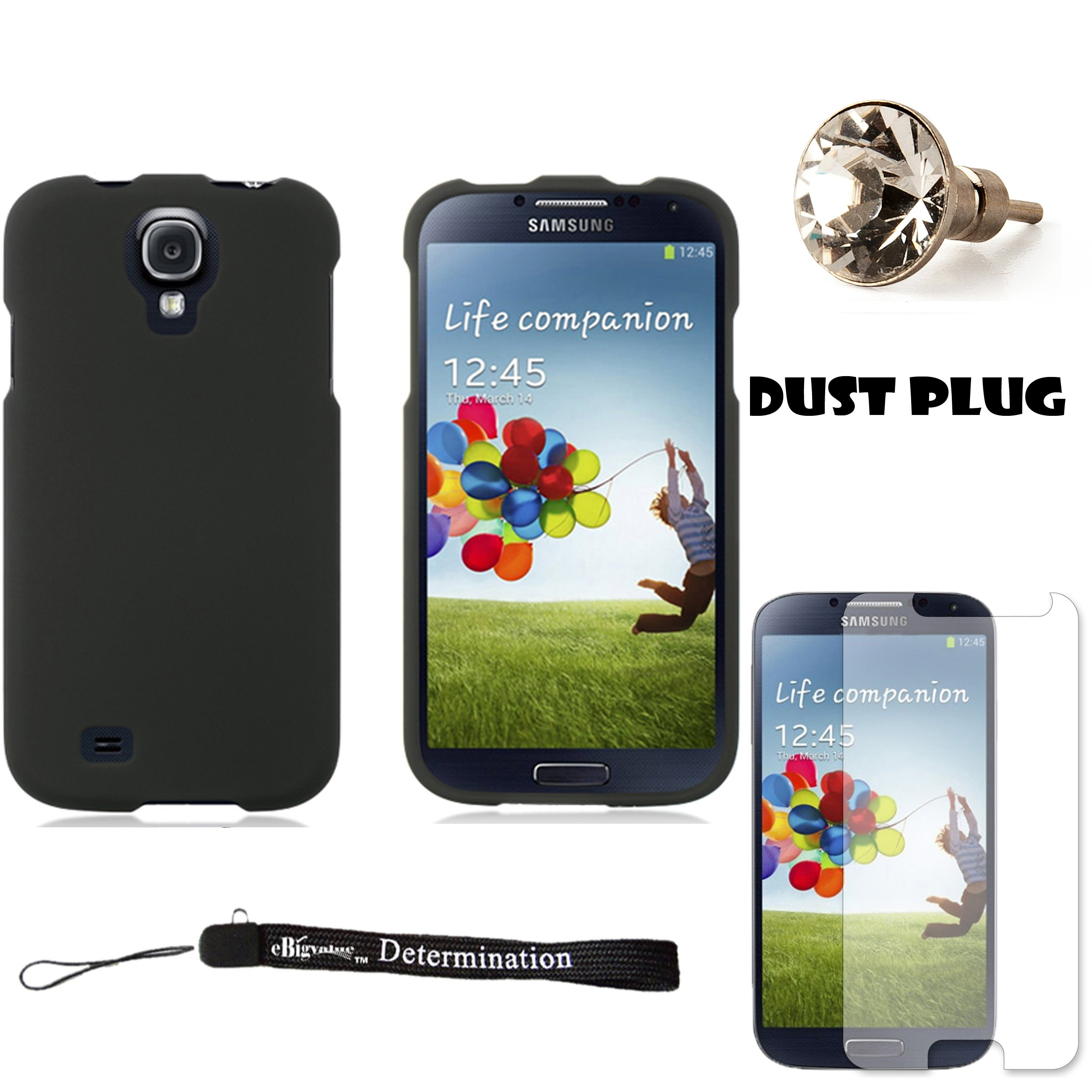 Black Premium Hard Design Crystal Case Snap On Cover For Samsung Galaxy S4 Android Smartphone 4G LTE (Jelly Bean) + Silver Swarovski Crystal Headphone Jack Dust Plug + Samsung Galaxy S4 Screen Guard Protector + an eBigValue  Determination Hand Strap