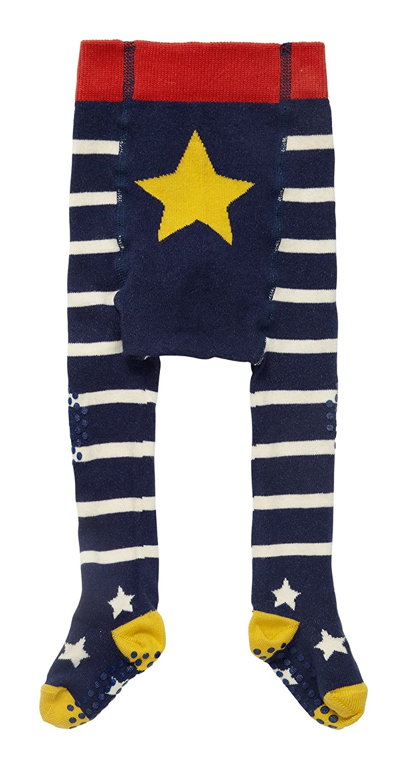 Piccalilly Organic Cotton Navy Blue and White Stripey Baby Crawler Tights