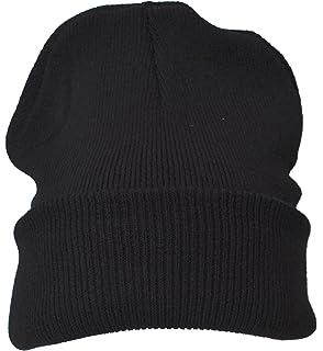 Beanie Plain Black Winter Ski Woolly Hat  Amazon.co.uk  Garden ... 473b77d6466
