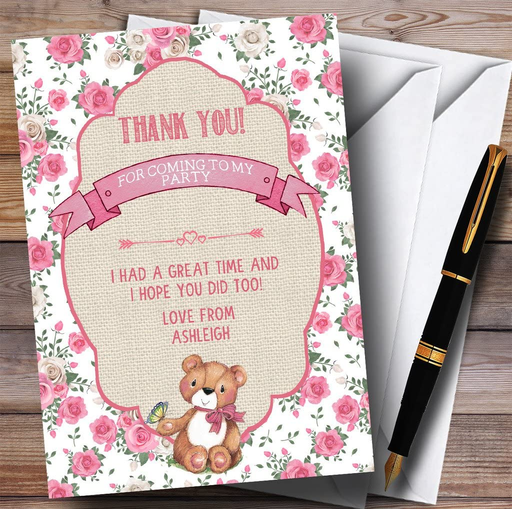 Pink Roses Girls Teddy Bear Picnic Party Thank You Cards