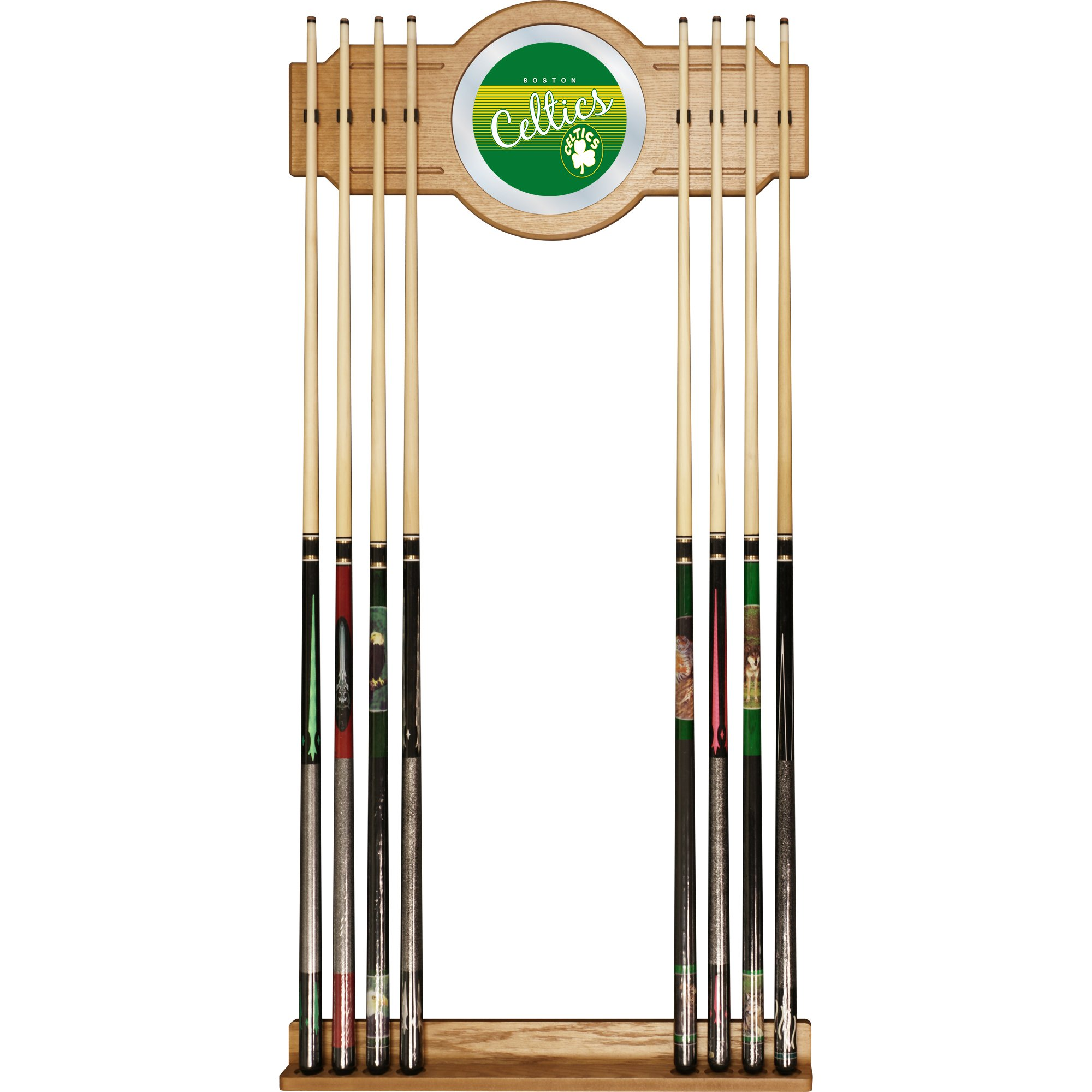 Trademark Global NBA Boston Celtics Cue Rack with Mirror, One Size, Brown