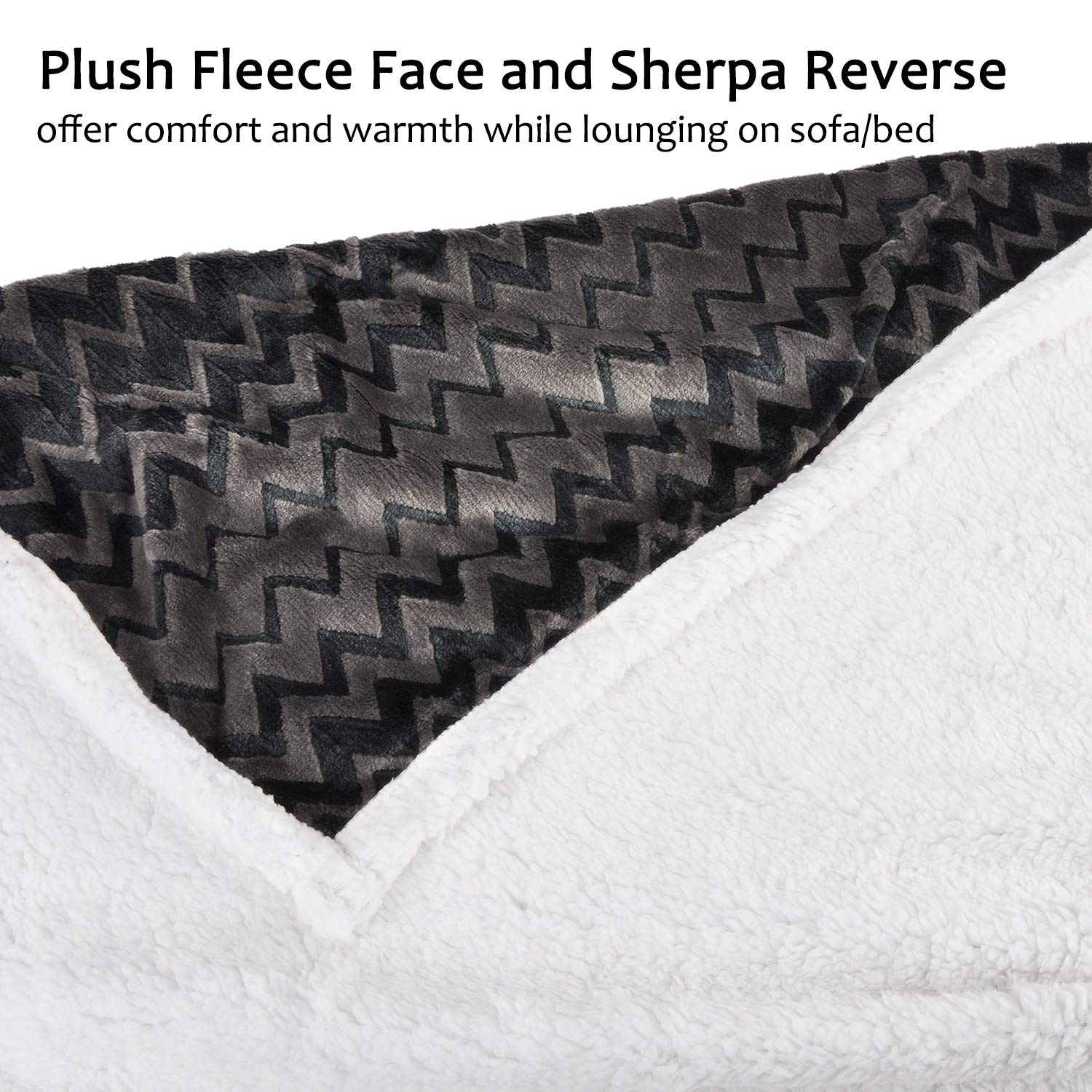 Plush Flannel Sherpa Throw Blanket Chevron 50\