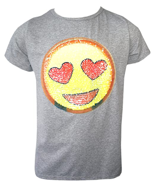 5fc7696d5f2de KIDS EMOJI EMOTICONS SMILEY FACE T SHIRT TEE TOP BRUSH CHANGING SEQUIN AGE 3 -14 YEARS  Amazon.co.uk  Clothing