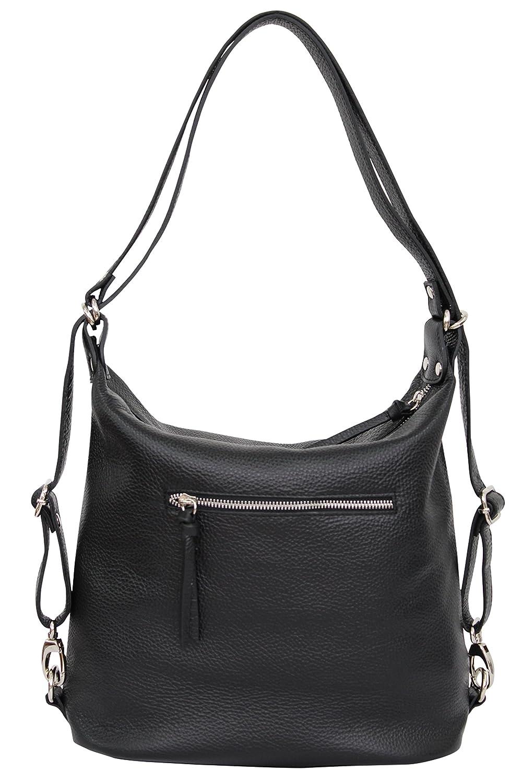AMBRA Moda äkta läder 2-i-1 damryggsäck CityBackpack DayPack axelväska GL016 svart