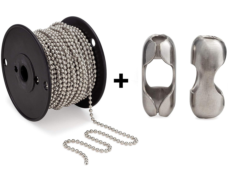 #10 Beaded Ball Chain 100 Feet Spool & Matching #10 B Couplings, Nickel Plated Steel - Bundle 81CtpmnGm9L