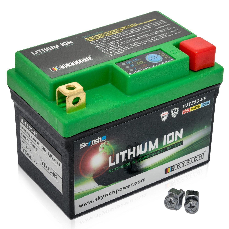 Wasserdicht Batterie Motorrad HJTZ5S-FP 12V 4Ah SKYRICH Lithium-Ionen mit Anzeige