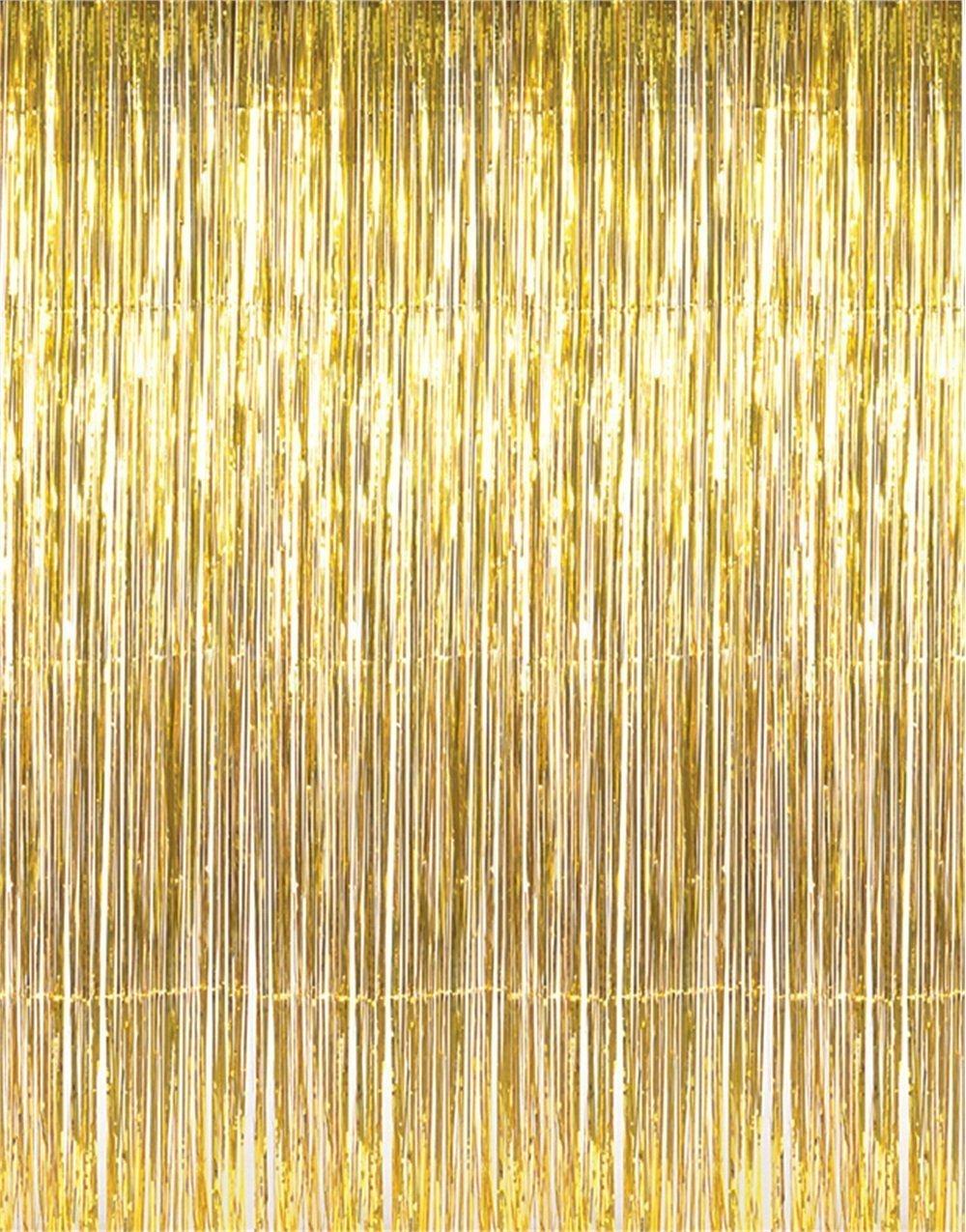 Konsait Party Decorations Gold Fringe Curtainspicture Backdrop Foil