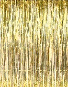 Konsait Party Decorations Gold Fringe CurtainsPicture Backdrop Foil Curtain For Bachelorette Supplies Photo