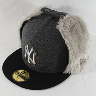 New Era 59fifty NY Yankees Melton Dog Ear Grey Russian Winter Fitted ... ff57d4d5ab5