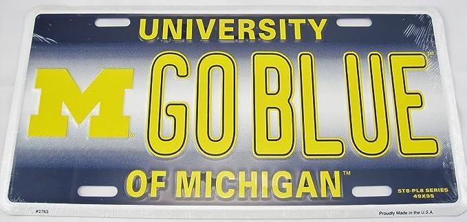 Go Blue State Nummernschild MICHIGAN Universit/ät Fu/ßball Wolverines Schild L935