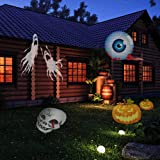 Lanno Halloween Projector Lamp 12 Replaceable Lens 12 Colorful Patterns Night Lamp Christmas Birthday Wedding Decoration Lamp Outdoor Landscape Walls Dance Floors Lighting Light