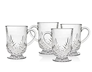 Godinger Coffee Mugs, Tea or Hot Water Glass Cups - Dublin Collection, Set of 4