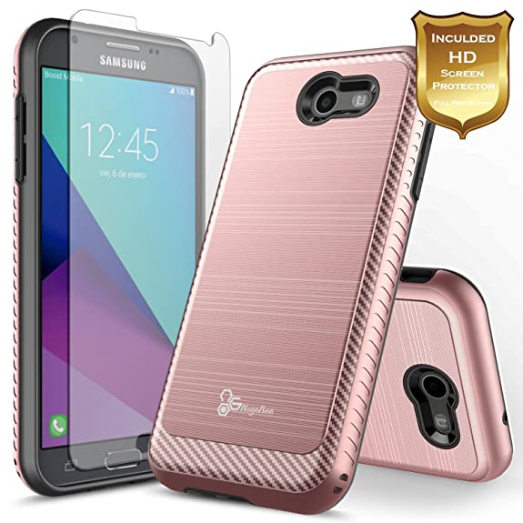 huge discount 064d7 9bfd7 Galaxy J7 V Case, Galaxy J7V Case, NageBee [Carbon Fiber Brushed] [Heavy  Duty] Defender [Dual Layer] with [HD Screen Protector] For Samsung Galaxy  J7 ...