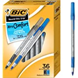 BIC Round Stic Grip Xtra Comfort Ballpoint Pen, Medium Point (1.2mm), Black and Blue, 36-Count