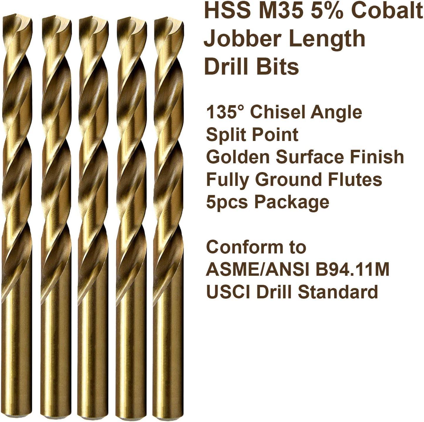 MAXTOOL No 21 Dia 0.159 Wire Gauge 5pcs Jobber Twist Drill Bits HSS M35 5/% Cobalt; JBN35G10R21P5
