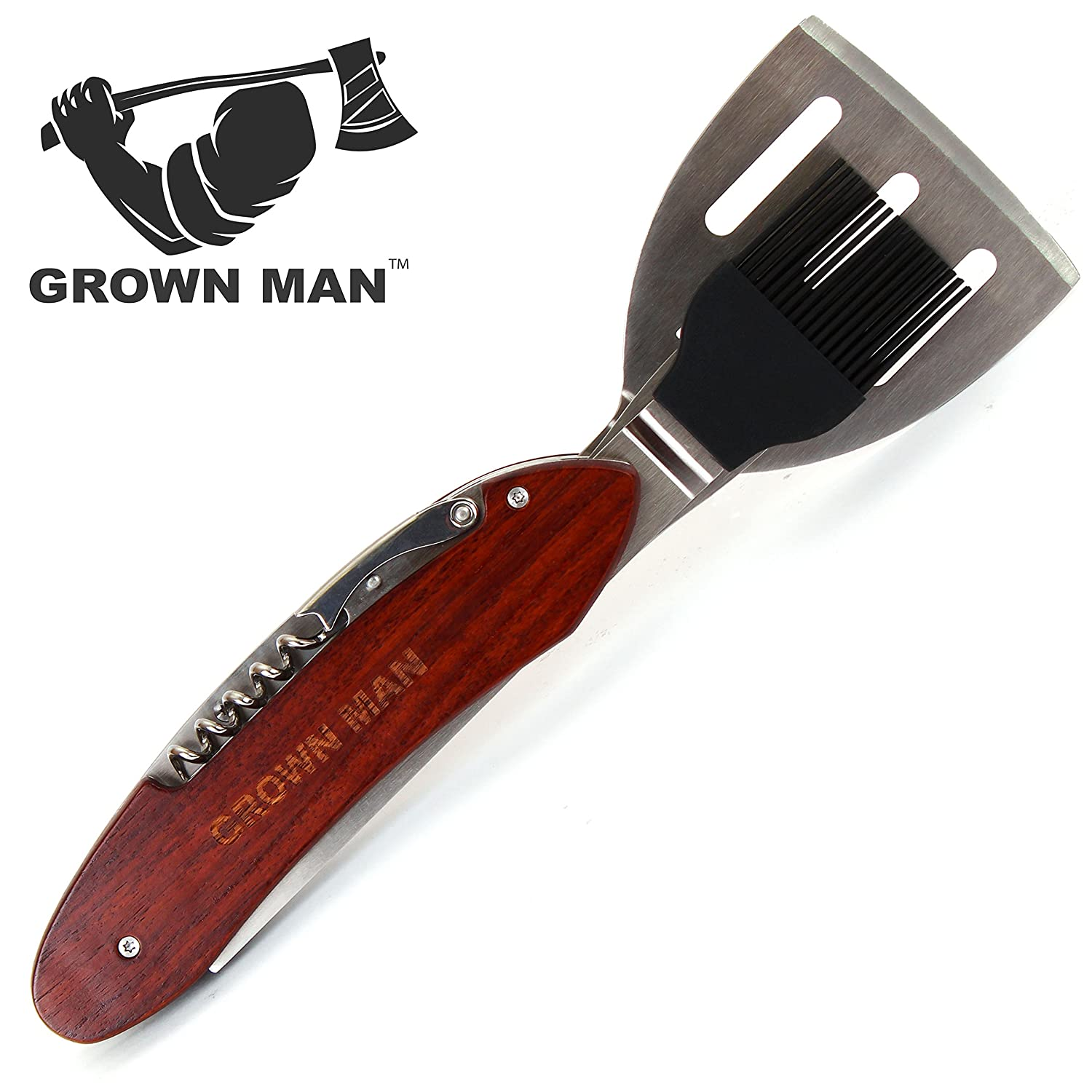 Grown Man BBQ Multi Tool – Includes Stainless Steel Spatula, Fork, Grill Brush, and more – Grilling Multitool for Backyard Grilling, Tailgating, and Camping