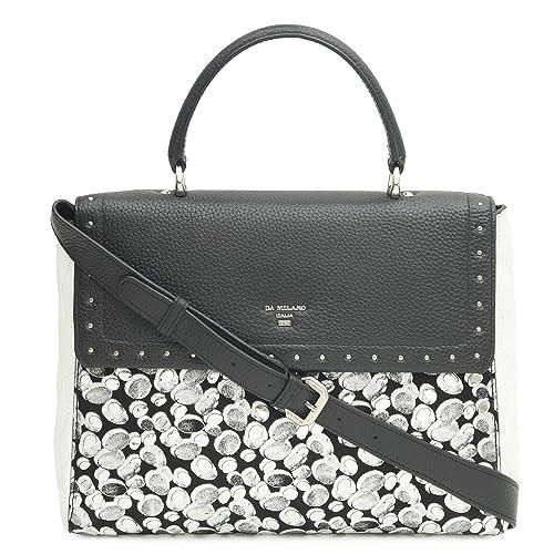 e3f94f4a71c5 Image Unavailable. Image not available for. Colour  Da Milano LB-4356 Black Silver  Women s Leather Satchel Bag