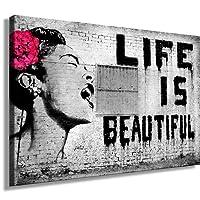 "ps-art Banksy - Stampa su tela da parete, 120 x 80 cm. Stampa già montata sul telaio. Quadro decorativo da parete, stile pop art, street art, Top 200 ""Banksy""."