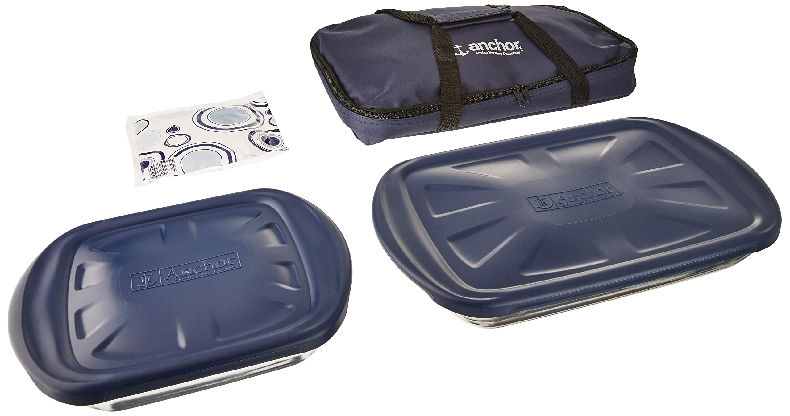 Anchor Hocking 6-Piece Essentials Bake-N-Take Set with Blue Plastic Lid and Blue Tote by Anchor Hocking (Image #2)