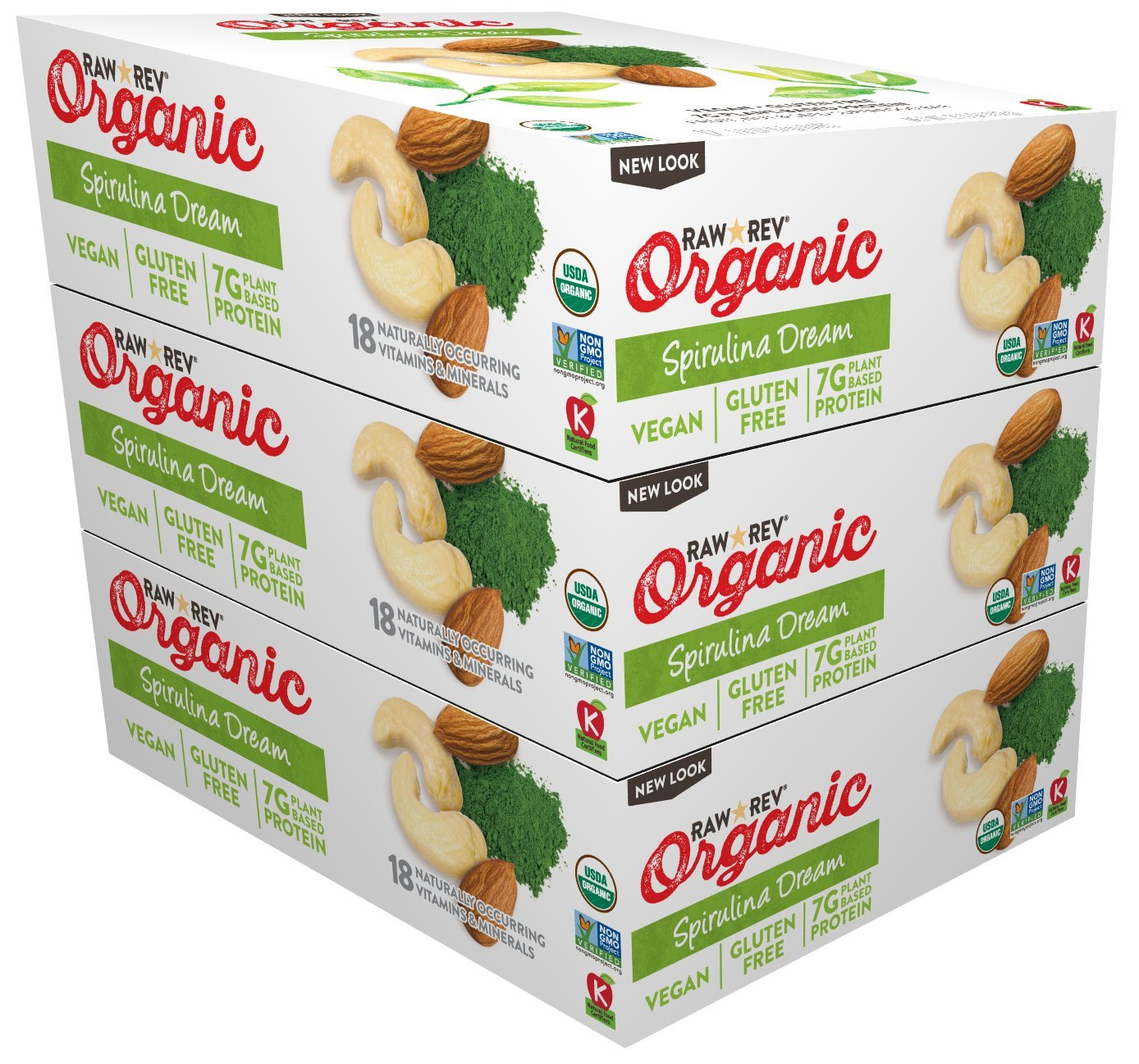 Raw Rev Organic Vegan, Gluten-Free Fruit, Nut, Seed Bars – Spirulina Dream 1.8 ounce (Pack of 36)