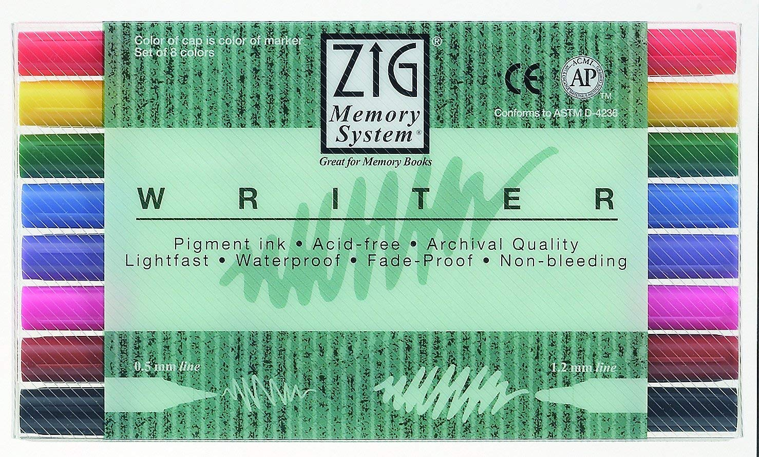 Zig Memory System Writer Dual-Tip Markers, Multicolor, 8-Pack MS66008V