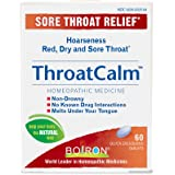 Boiron Throatcalm, 60 Tablets, Homeopathic Medicine for Temporary Sore Throat Relief, Quck Dissolve Tablets, Non-Drowsy