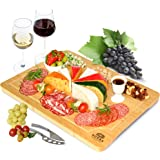 Extra Large Bamboo Cheese Board and Charcuterie Boards/Serving Tray with Built-In Compartments and Juice Groove for Cheese, M