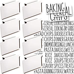 Talented Kitchen 8 White Clip Label Holders w/ 40 Pantry Labels. Pantry Organization Solution Baskets and Boxes. Removable Metal Bin Clips. 40 All Caps White Pantry Stickers (WHITE CLIP / BLACK LABEL)