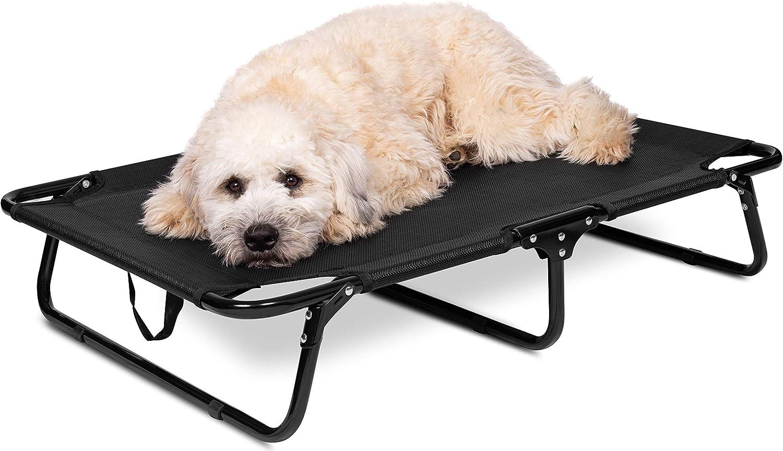 BIRDROCK HOME Elevated Dog Bed Cot – Steel Frame – Folding Pet Furniture – Lightweight Portable – Easy Setup- Cool Breathable Mesh – Indoor or Outdoor Use
