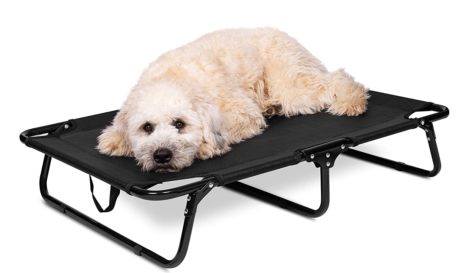 BIRDROCK HOME Elevated Dog Bed Cot – Steel Frame – Folding Pet Furniture – Lightweight Portable – Easy Setup- Cool Breathable Mesh – Indoor or Outdoor Use