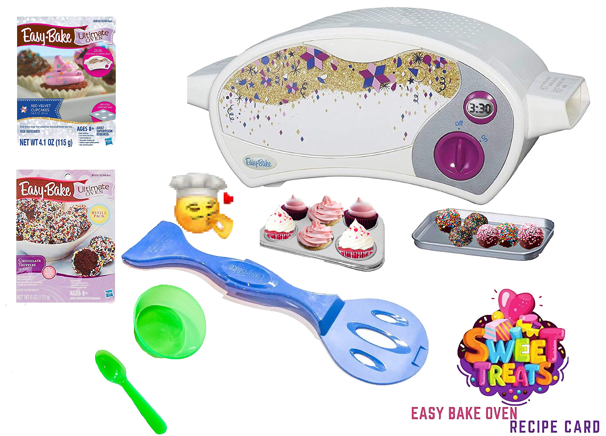 Easy Bake Ultimate Oven Baking Star Edition + 2 Oven Refill Mixes + 2 Sweet Treats Tasty Oven Recipes + Mixing Bowl and Spoon (5 Items Total) (Green) by Easy Bake