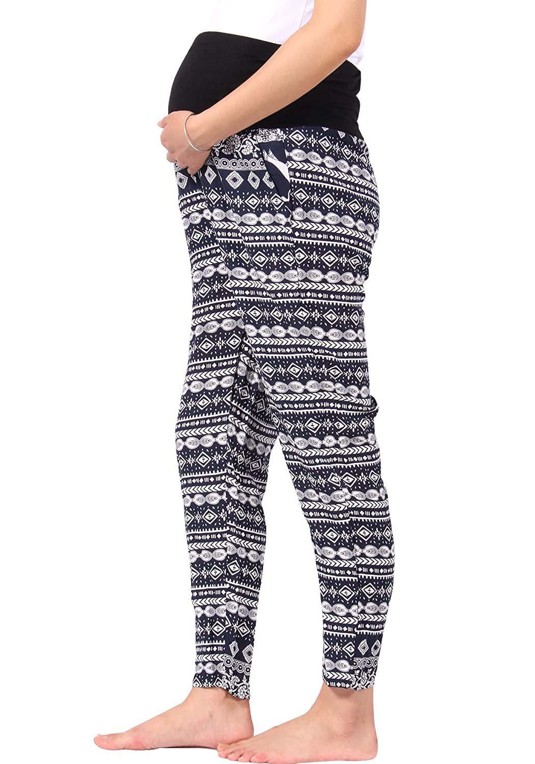 7b1e9d2821fd3 MAMAFLY Women's Cotton Loose Fitting Maternity Harem Boho Pants Trousers  with Pockets at Amazon Women's Clothing store: