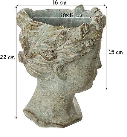 Busto de aspecto antiguo de aprox. 22 x 16 cm – Maceta gris mate ...