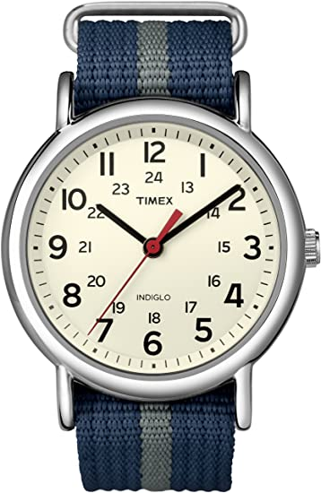 02f55ec71147 Timex Unisex T2N654 Weekender Watch with Blue and Gray Nylon Strap   Amazon.ca  Watches