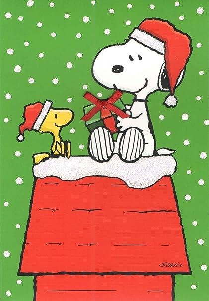 Snoopy Christmas Cards.Amazon Com Peanuts Snoopy Set Of 8 Christmas Cards