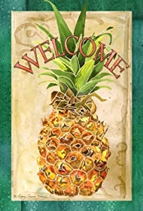 Toland Home Garden 1010124 Pineapple Welcome Decorative Colorful Summer Fruit ,Multicolor,House Flag 28 x 40 Inch
