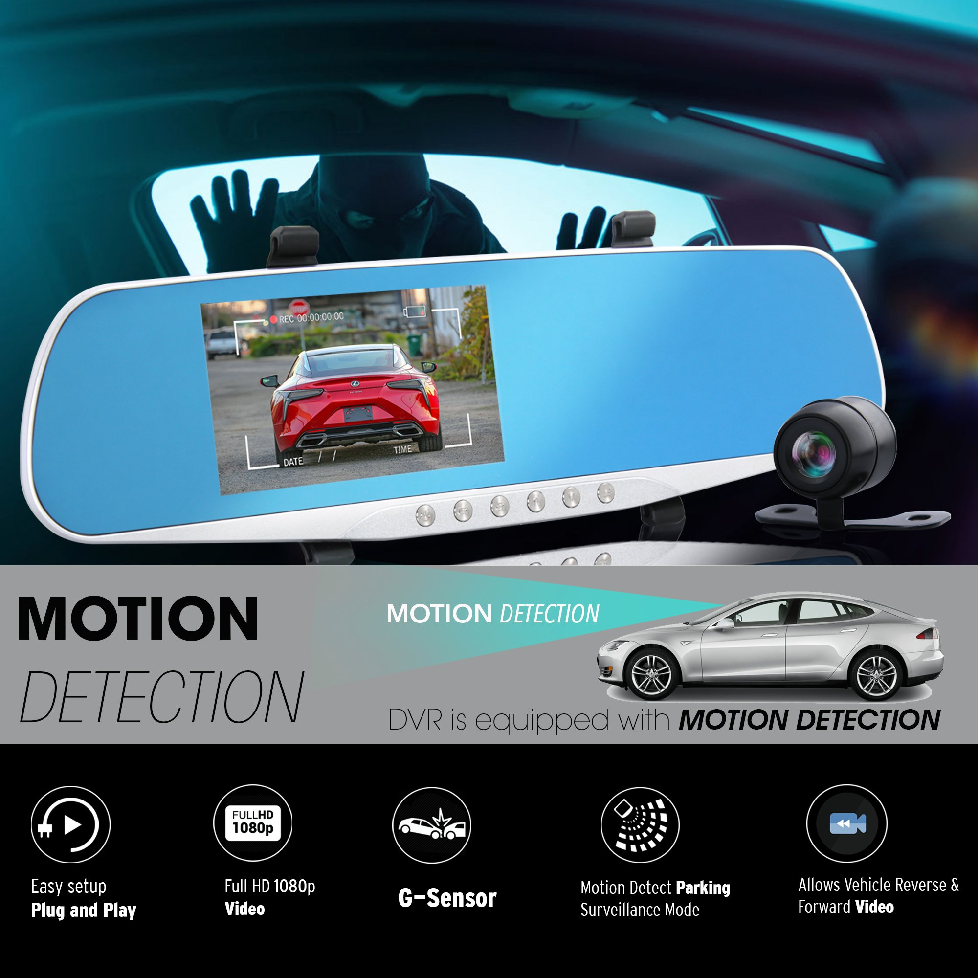 """Dash Cam Rearview Mirror Monitor - 4.3"""" DVR Rear View Dual Camera Video Recording System in Full HD 1080p w/Built in G-Sensor Motion Detect Parking Control Loop Record Support - Pyle PLCMDVR46 by Pyle (Image #7)"""
