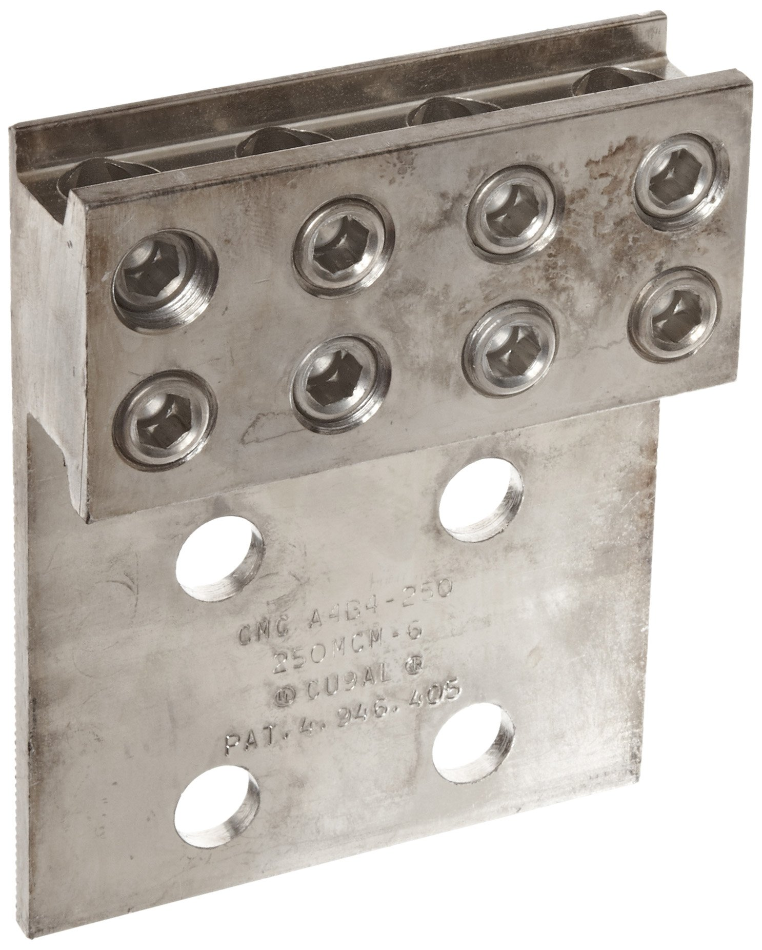 Morris Products 90964 Mechanical Lug, Four Conductors, Four Hole Mount, Aluminum, 250 AWG, 250mcm - 6SOL. Wire Range