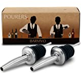 Barvivo Liquor Pourers with Free Flow 2-Piece Set. Classic Bartender Speed Pourer w/ Tapered Spout, Fits Alcohol Bottles up to 1l. Made of Food Grade Plastic and Stainless Steel with a Brushed Finish