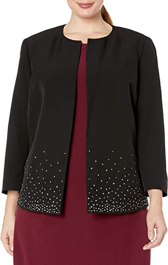 Kasper Women's Jewel Neck Fly Away Jacket with Bottom Detail at Amazon  Women's Clothing store