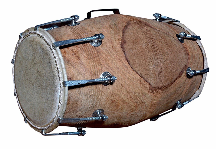 Handmade Sheesham Wood Dholak Indian Folk Musical Instrument Drum Nuts N Bolt