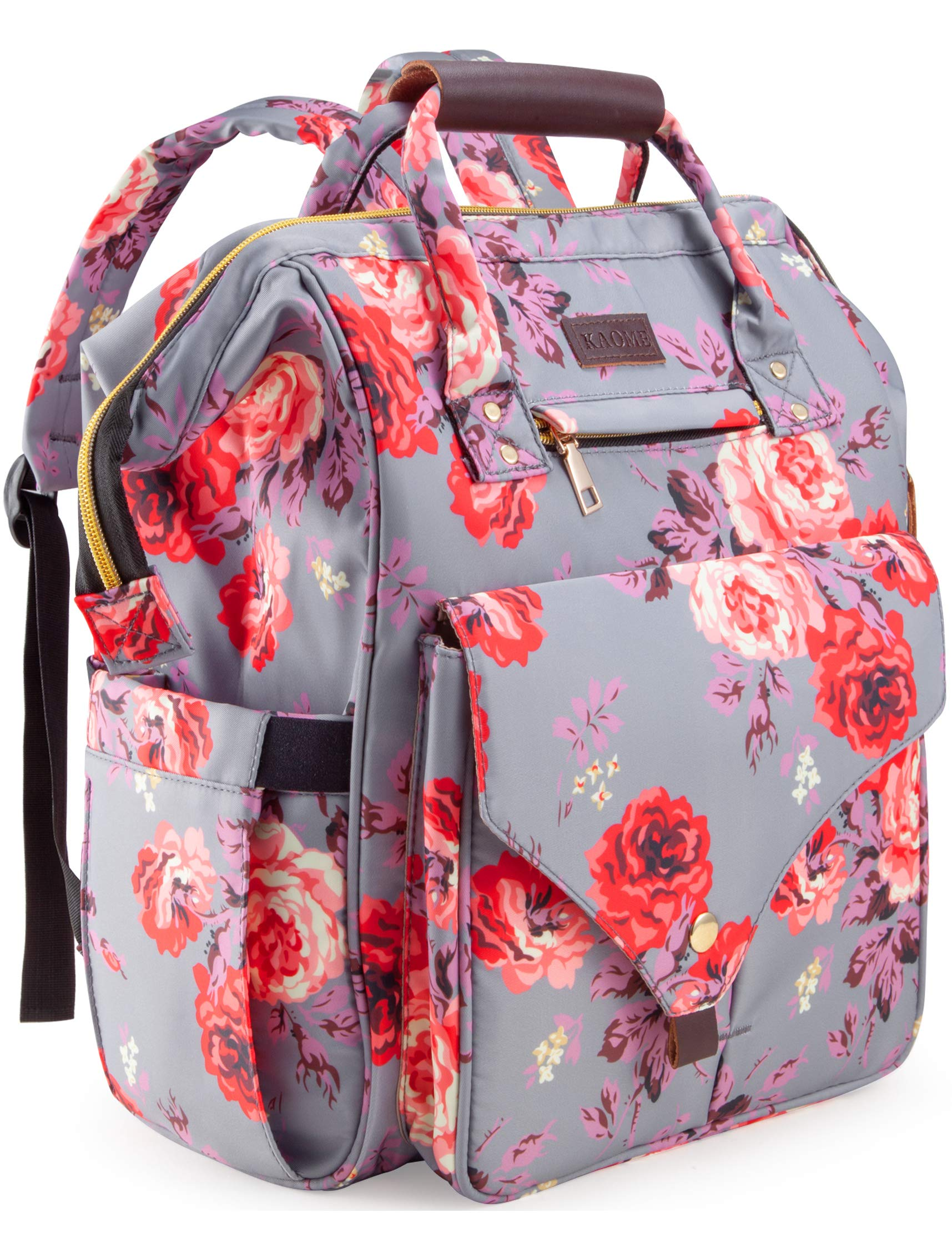 Diaper Bag Backpack, Kaome Large Capacity Nappy Bags, Waterproof Baby Bag Floral Insulated Durable Travel Maternity Back Pack for Baby Girls (with Diaper Pad, Bottle Bag) by Kaome