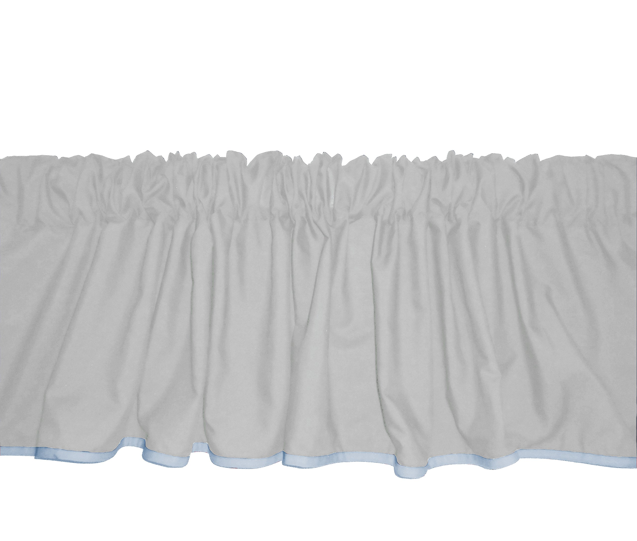 Baby Doll Bedding Solid Two tone Window Valance, Grey/Blue