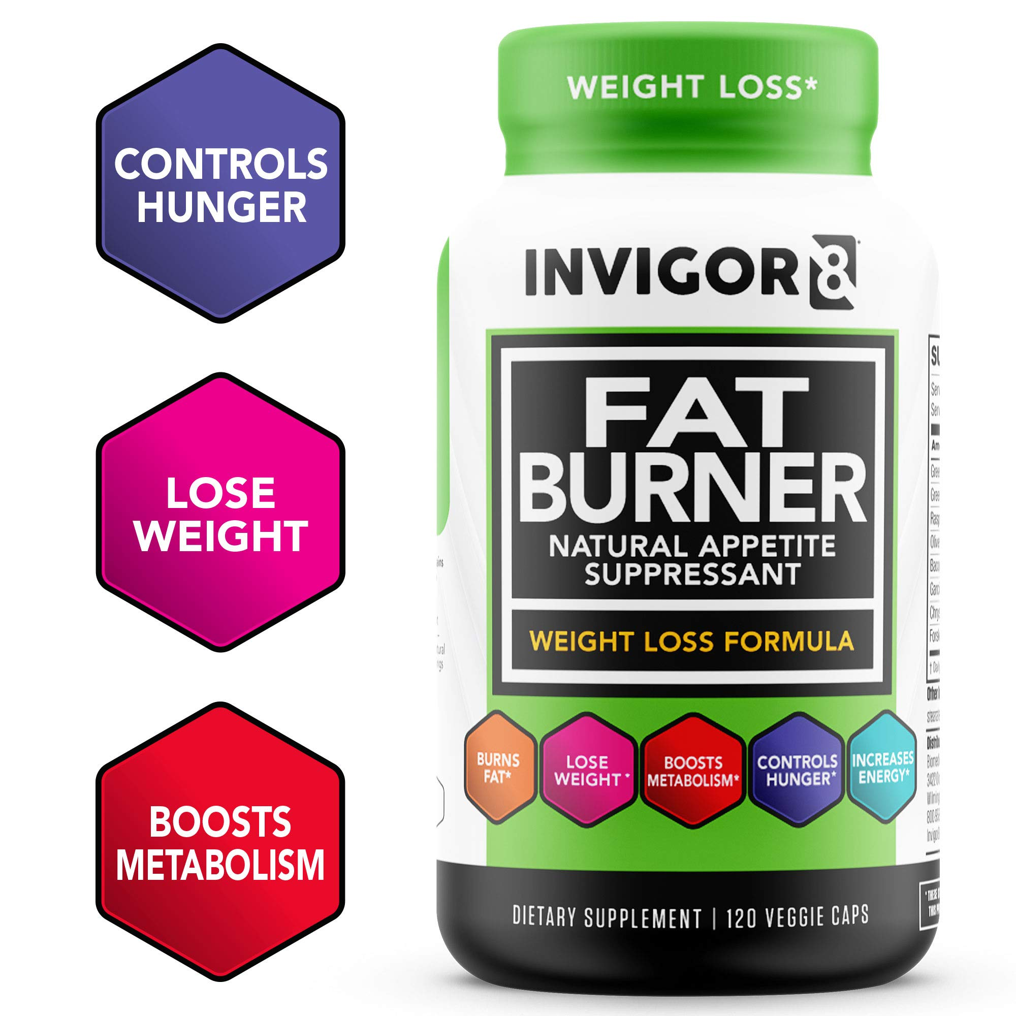 INVIGOR8 Fat Burner. Healthy Garcinia Weight Loss Supplement & Appetite Suppressant with Green Tea Leaf Extract (120 Veggie Capsules) by BRL Sports Nutrition