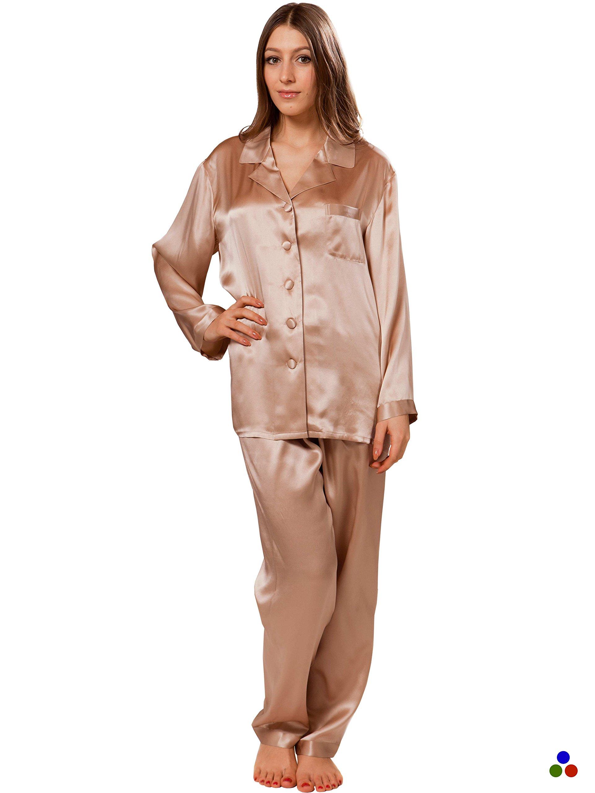 ElleSilk Pajamas for Women, Silk Sleepwear, Long Sleeves Pajama Top and Long Pants, Ultra Soft, Cappuccino, XL
